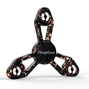 ハンドスピナー Hand spinner ストレス解消 紅葉型 指スピナー Fidget Spinner Toy おもちゃ フォーカス玩具 暇つぶし 脳トレー ボールベアリング 超耐久性の高速度 最流行 (ブラックーカラー)