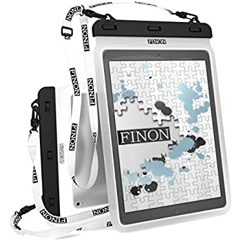 FINON【10.5-13インチ対応 WATERPOF CASE/防水ケース】大型タブレット対応防水ケース・専用ピック・ネックストラップ【Fire HD10/iPad Pro 10.5/12.9/Xperia Z/Z2/Z4 Tablet/Surface Pro/2/3/4/FJX/Surface RT/2/3/Diginnos/ideapad Miix/TransBook/MateBook 記載以外も対応】