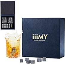 Whisky Glasses Gift Set, Whisky Stones and Glasses in Deluxe Gift Box - Set of 2 Crystal Whiskey Old Fashioned Glasses, Birthday, Valentine, Father's Day Gift for Dad, Husband, Men - iiiMY