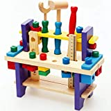 知育玩具 大工さんセット 積み木 DIY 組み立て 木製おもちゃ 天然木材質 プレゼント ギフト 想像力創造力を育てる