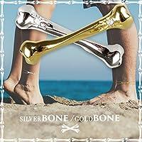 【K24GP】【3WAY】Meteor(メテオラ) bone ネックレス 骨 アンクレット スカル ブレスレットドクロ ゴールド ネックレス シルバー ネックレス プレゼント ギフト チェーン ペア レディース ゴールド シルバー メンズ ユニセックス (ゴールド:チェーン40㎝)