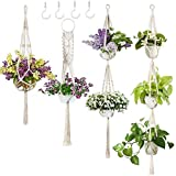 4 Pack Macrame Plant Hanger w/ 4 Hooks, Various Tiers, Cotton Woven Hanging Planter Basket Flower Pot Holder for Indoor Outdoor Home Boho Décor