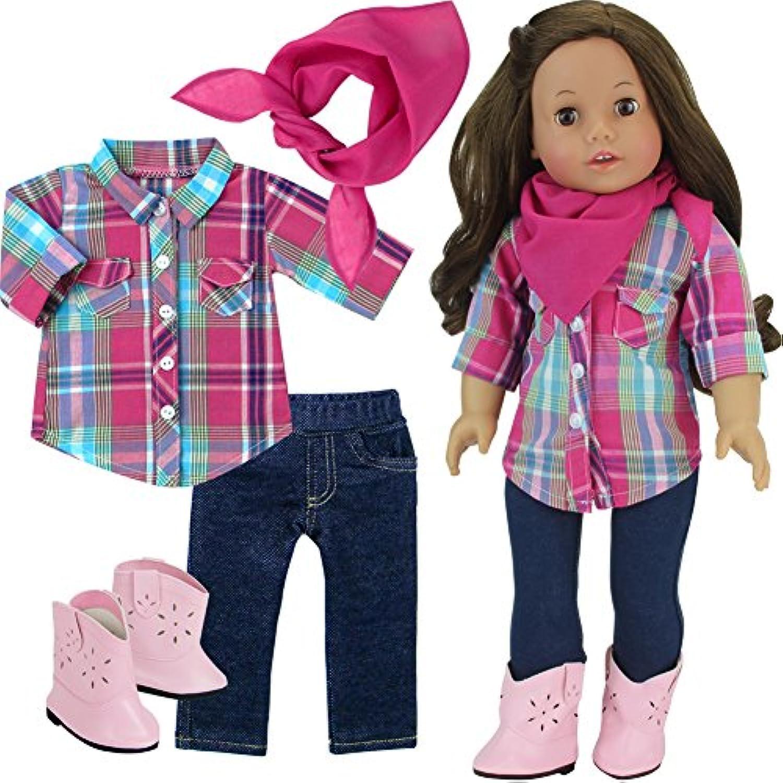 Sophia 's Western Look For人形、18インチ人形格子柄ブラウス、デニムJeggings、バンダナ、カウガールブーツ