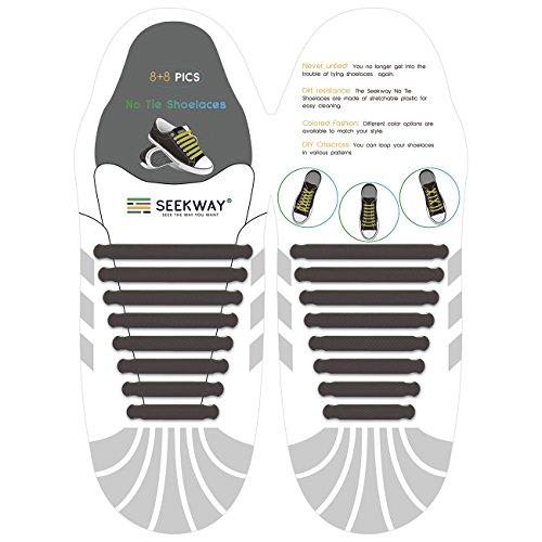 SEEKWAY 靴紐 結ばない ゴム 靴ひも 伸縮 靴紐 メンズ レディース用 ほとけない 靴ひも ほどけない 16pcs 10カラー NTS001 (ブラウン)