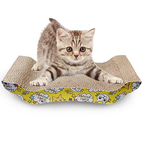 EVELTEK ネコ用品 猫 爪とぎ 板 バリバリベッド つめとぎ ダンボール 猫スクラッチャー 猫ソファー (ベッド型)