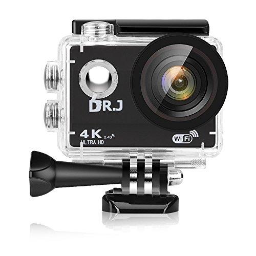 DR.J 4Kスポーツカメラ 3年保証 二つ電池付き WiFi搭載 1600万画素 2インチ液晶画面 170度広角 40m防水 リモコン付き 豊富な付属品付き バイク/自転車/カート/車に取り付け可能 空撮やスポーツに最適