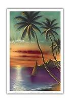 ダイヤモンドヘッドサンセットハワイ - によって作成された モキ・ハナ - アートポスター - 23cm x 31cm