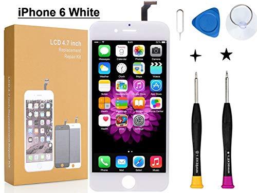 Oli & Ode iPhone 6 修理パーツ フロントパネル 3D 液晶パネルタッチスクリーン修理交換用 修理工具付属 (6 ホワイト)