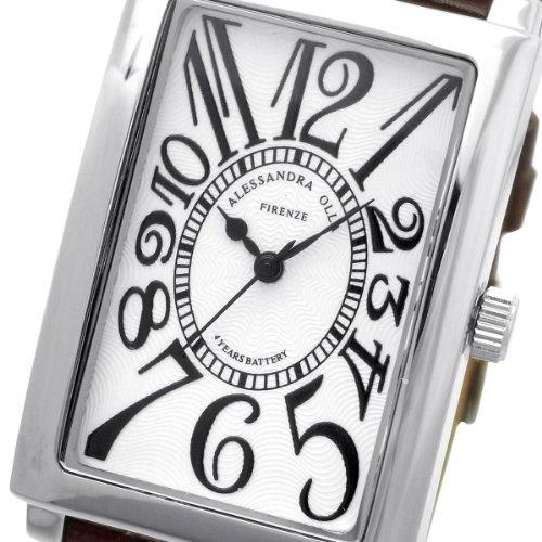 [アレサンドラオーラ]Alessandra Olla 腕時計 レクタンギュラー ホワイトブラウン AO-4500-WHBR メンズ