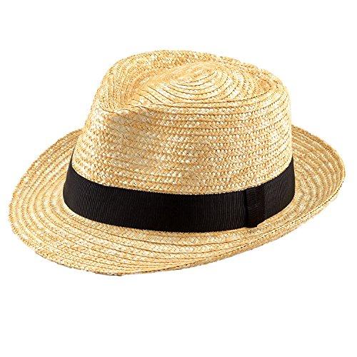 (田中帽子) ノア 日本製 麦わら 中折れ ハット / 9-10mm (麦わら帽子 メンズ 大きいサイズ ストロー 紫外線 uv 対策 日焼け防止 日よけ 春日部 ギフト 誕生日 男性 女性 父の日プレゼント 人気商品) UKH005 (S(56.5cm), ナチュラル)