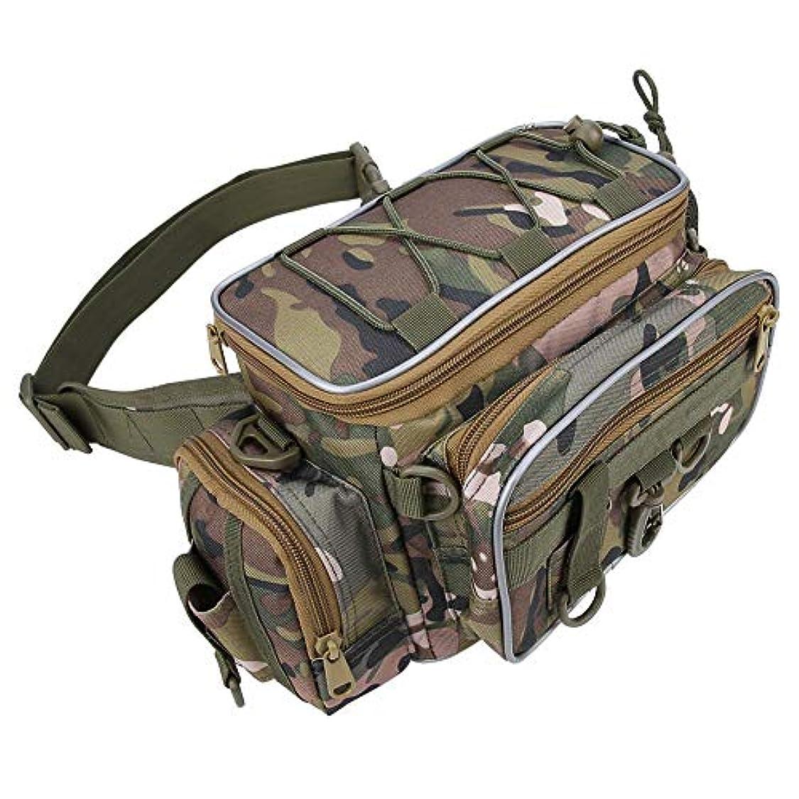 鉱夫コテージ困難釣りバッグ フィッシングタックルバッグ 大容量 複数のポケット ショルダーストラップ 調節可能 多機能 折りたたみ可能 ルアー/リールなどに対応