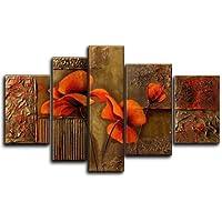 Wieco art-compositionの3つのPoppies 100%手描きベストセラー品質Goods木製フレーム付き背面の高Q。壁の装飾花油絵のキャンバス5点/セット 16x24inchx2pcs,12x36inch,12x40inch,16x32inch ブラウン FL5050XL