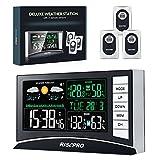 デジタル無線温湿度計|RISEPRO |バックライト/天気予報/目覚まし時計|室内外 置掛両用 3個無線送信機 | 送信距離最大100M | ギフトパッケージ | RP-WS2003