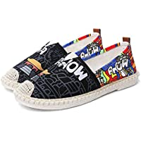 AUCDK Shoes Women Canvas Loafers Printed Breathable Espadrilles Low Top Casual Flats Lightweight Walking Shoes