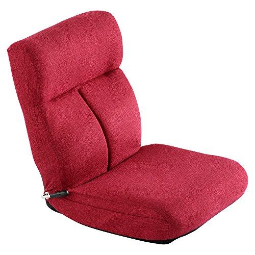 座椅子 リクライニング コンパクト ミニ座椅子 レバー式 無段階 1人掛け 座いす レバー ルージュレッド