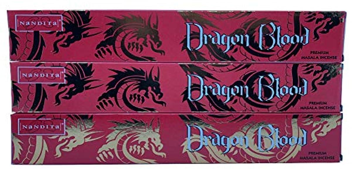 仕様平らなタイトNandita Dragon Blood プレミアムマサラ香スティック – 3パック (各15グラム)