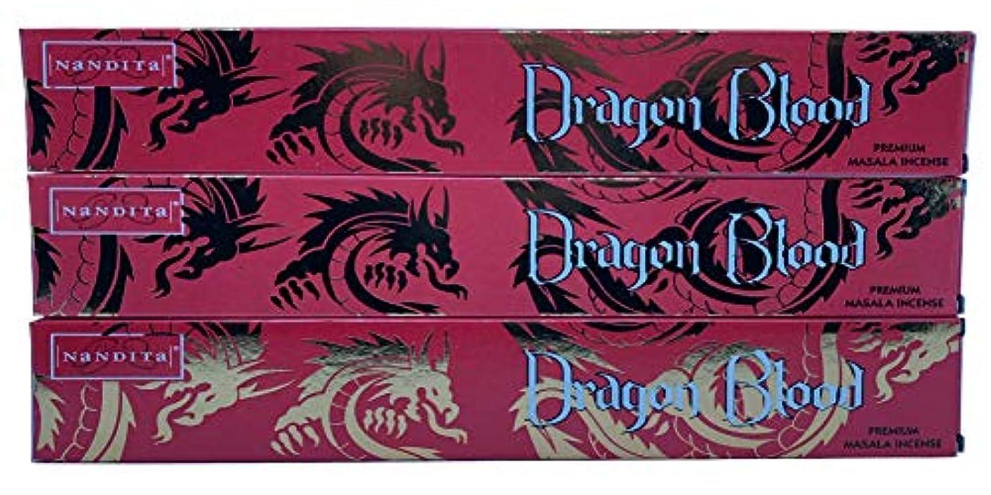 ジャニスソロ合法Nandita Dragon Blood プレミアムマサラ香スティック – 3パック (各15グラム)