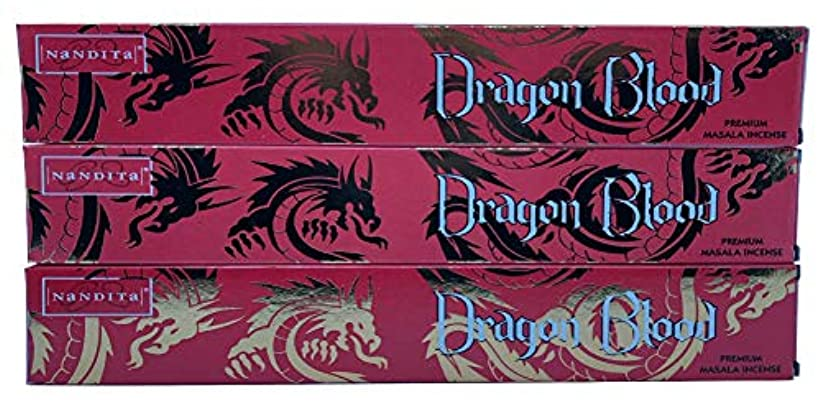 不十分な強調本土Nandita Dragon Blood プレミアムマサラ香スティック – 3パック (各15グラム)