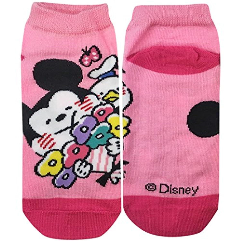 ディズニーソックス Mickey&Friends フラワー ライトピンク?ピンク 22cm~24cm AWDS4310
