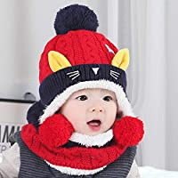 Kitten Ear Winter Baby Two Sets of Men and Women Baby Children Hat Line Knit Suit (Color : A, Size : One Size)