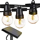 Brightech Ambience Pro - Waterproof Solar LED Outdoor String Lights - 1W Retro Edison Filament Bulbs - 27 Ft Globe Lights Create Bistro Ambience in Your Yard, Pergola - Warm White