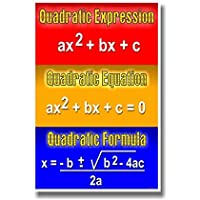 二次式、次方程式、Quadratic Formula–数学教室ポスター