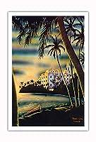 ワイキキビーチのサンセット - ホノルル、ハワイ - ロイヤルハワイアンホテル - ビンテージなハワイのエアブラシアート によって作成された フランク・オダ c.1950s - アートポスター - 76cm x 112cm