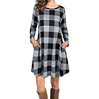 FANSIC Women Casual Long Sleeve Loose Checkered Plaid Swing Tunic T-Shirt Dress Pocket