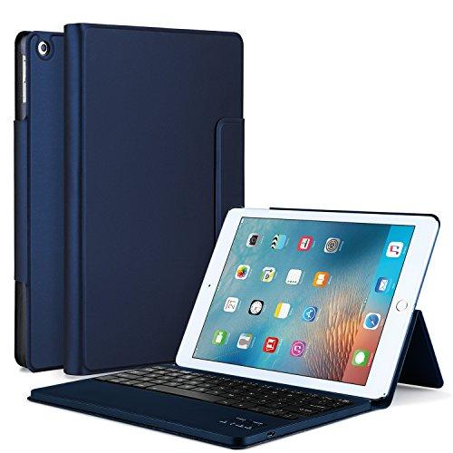 Apple iPad Pro 10.5インチ ケース, IVSOApple iPad Pro 10.5インチ キーボードカバー 開閉で自動的 PUレザーケース マグネット着脱可能Apple iPad Pro 10.5インチ 専用 一体型Bluetoothワイヤレスキーボード(ブルー)
