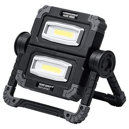 サンワダイレクト LED投光器 作業灯 充電式 高輝度 最大850ルーメン スタンド/吊り下げ/手持ち/縦置き バッテリー内蔵 COBチップ 軽量 800-LED027
