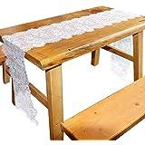 Nrpfell 14インチx 118インチ ビンテージ ホワイトレース テーブルランナー 素朴 自由奔放に生きるスタイル ボヘミアン 結婚式ブライダルシャワーの装飾 絶妙な刺繍花テーブルランナー
