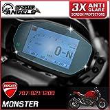 3 x Ducati Monster 797/821/1200 2014> ダッシュボード / 計器クラスタ スクリーンプロテクター - アンチグレア