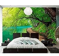 Chunxd 壁紙グリーンフォレストストリームクリア湖水3D壁紙壁画、リビングルームソファテレビ壁寝室ウォールペーパー家の装飾-280X200Cm