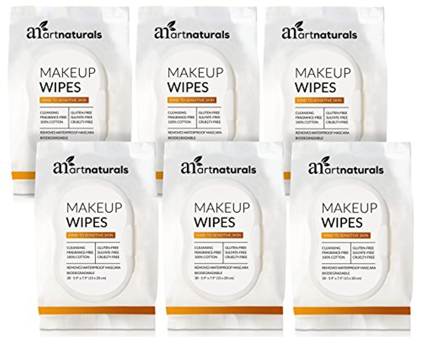 ArtNaturals Makeup Remover Cleansing Wipes-Towelettes – (30 Count x 6 Piece Set) – Biodegradable Facial Wipes...