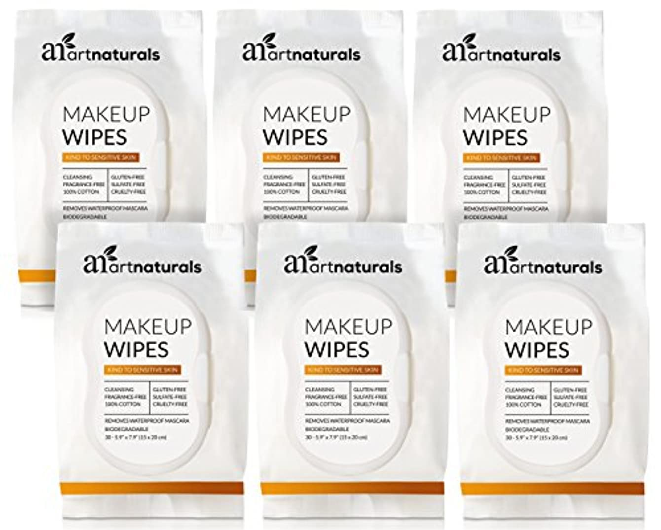ArtNaturals Makeup Remover Cleansing Wipes-Towelettes – (30 Count x 6 Piece Set) – Biodegradable Facial Wipes...