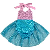 Carkoo Mermaid Baby Girl One Piece Swimsuits with Tutu Dress (MediumPink)
