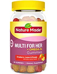 Nature Made Multi for Her + Omega-3 Adult Gummies EPA and DHA 80Gummies