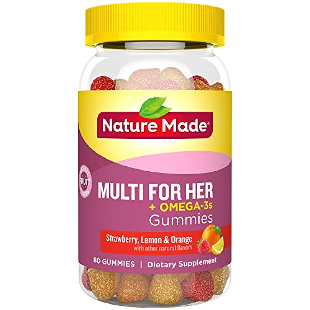 敵意打たれたトラック決定するNature Made Multi for Her + Omega-3 Adult Gummies EPA and DHA 80Gummies