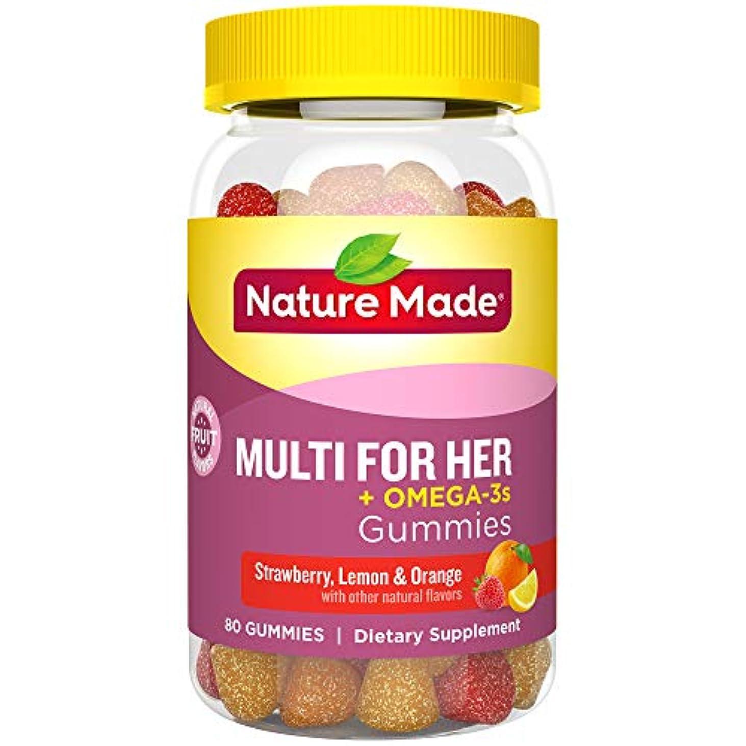 機関車粘性の反抗Nature Made Multi for Her + Omega-3 Adult Gummies EPA and DHA 80Gummies