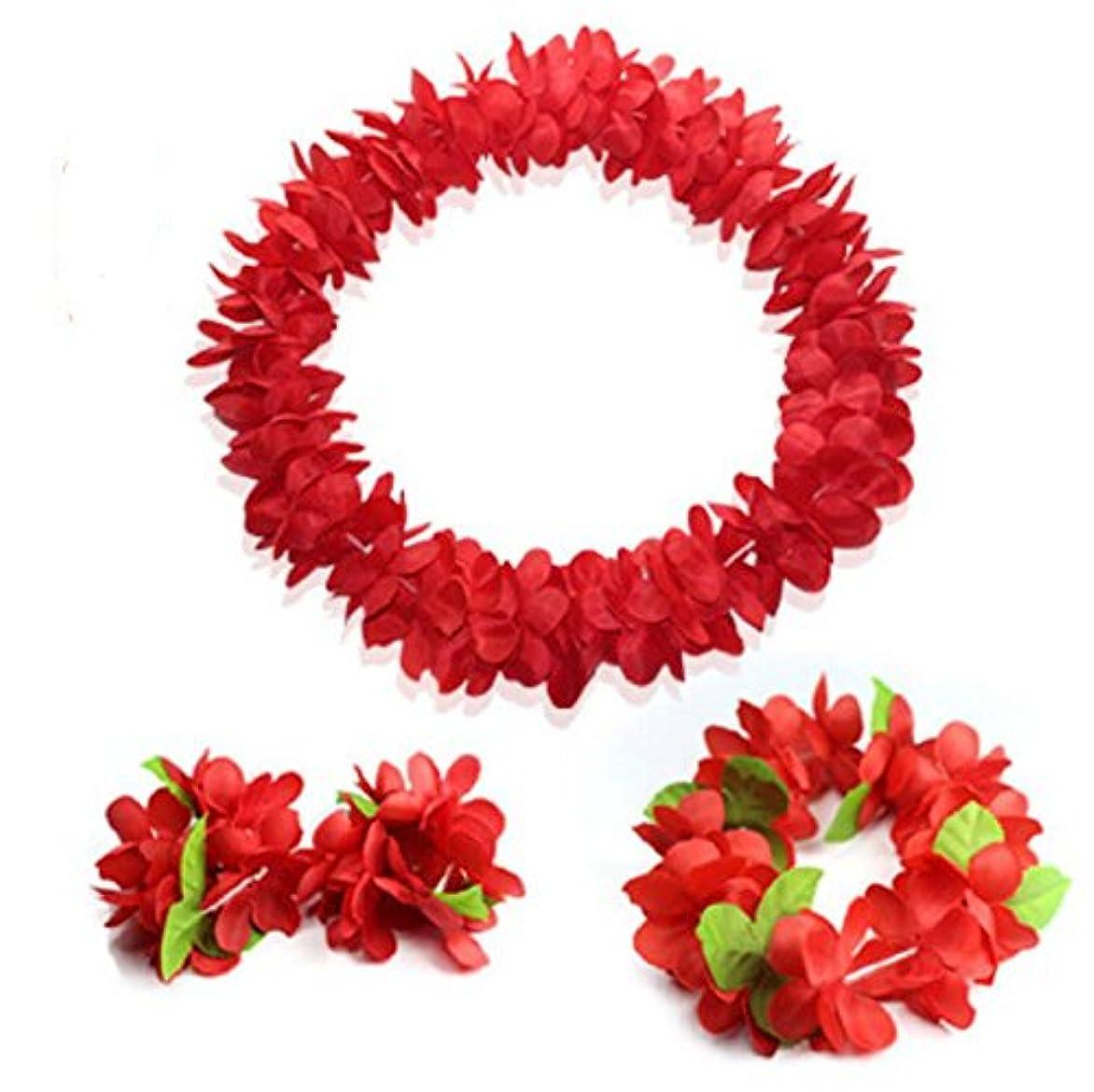 杭十分マーキングトロピカルプラスチックガーランドフラワーハワイアンアイランドパーティーデコレーション1ネックリングとヘッドバンド+ 3ブレスレット (色 : Red)