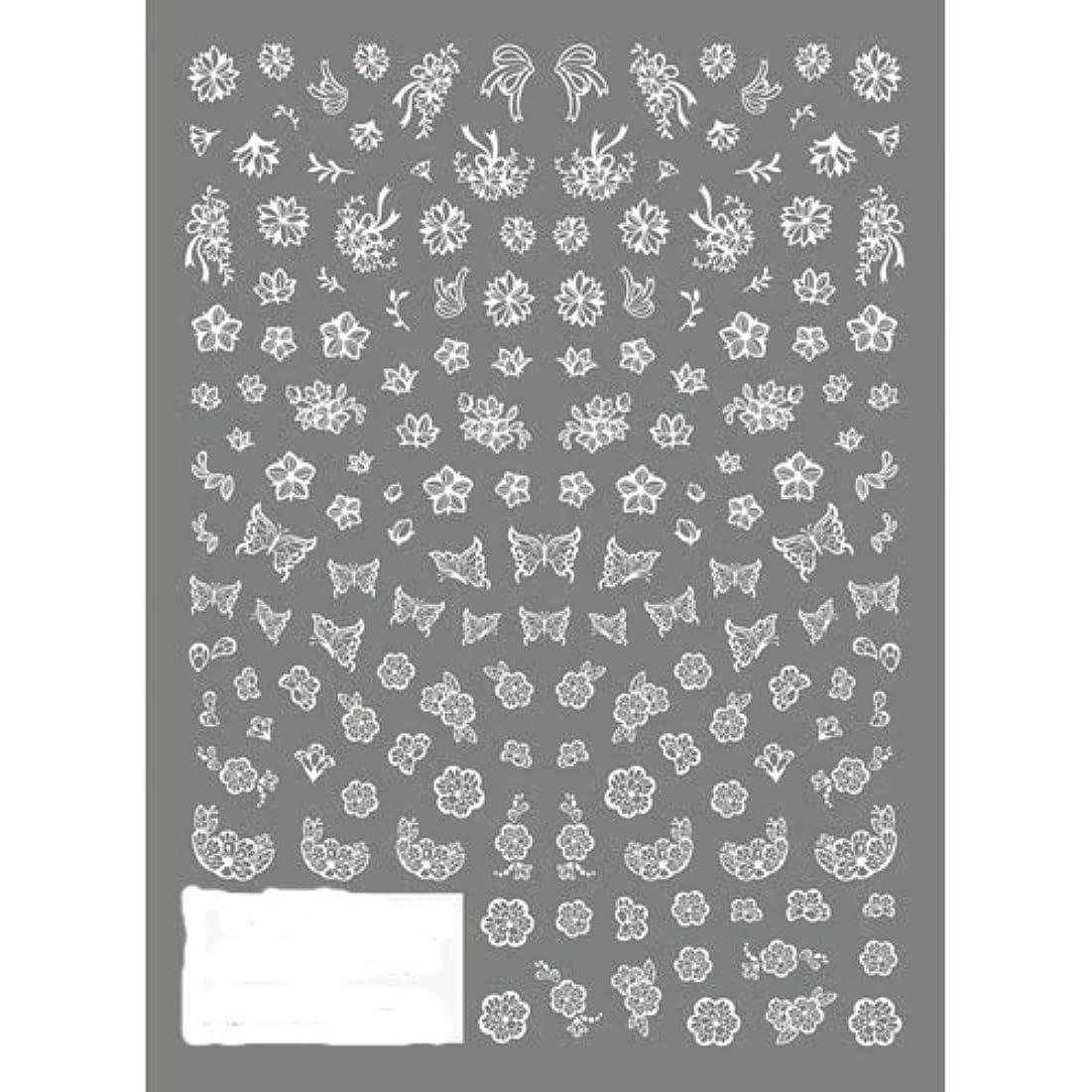 ツメキラ ネイル用シール 切り絵 フラワー&バタフライ ホワイト