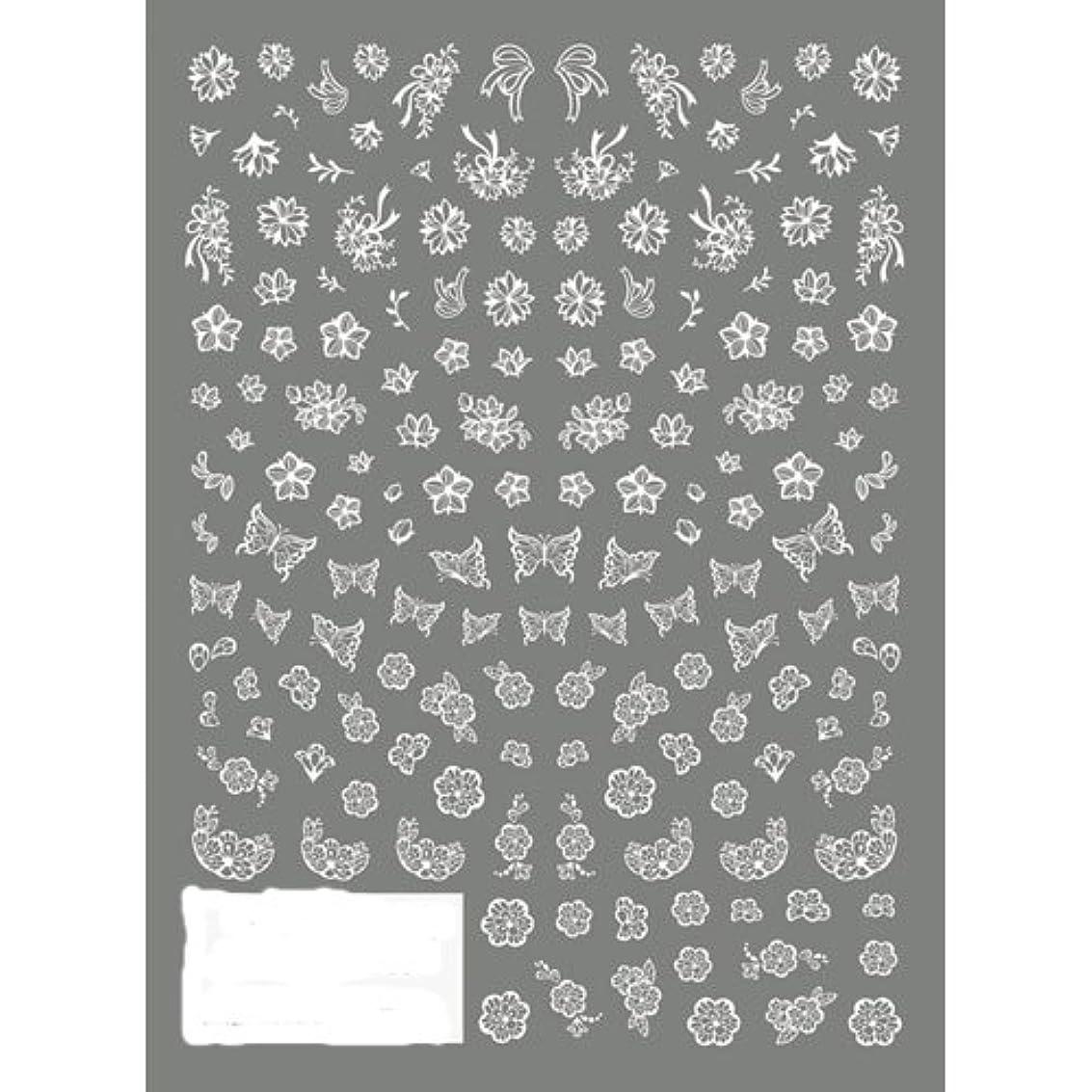 魅惑する子孫不良品TSUMEKIRA(ツメキラ) ネイルシール 切り絵 フラワー&バタフライ ホワイト NN-KRE-201 1枚