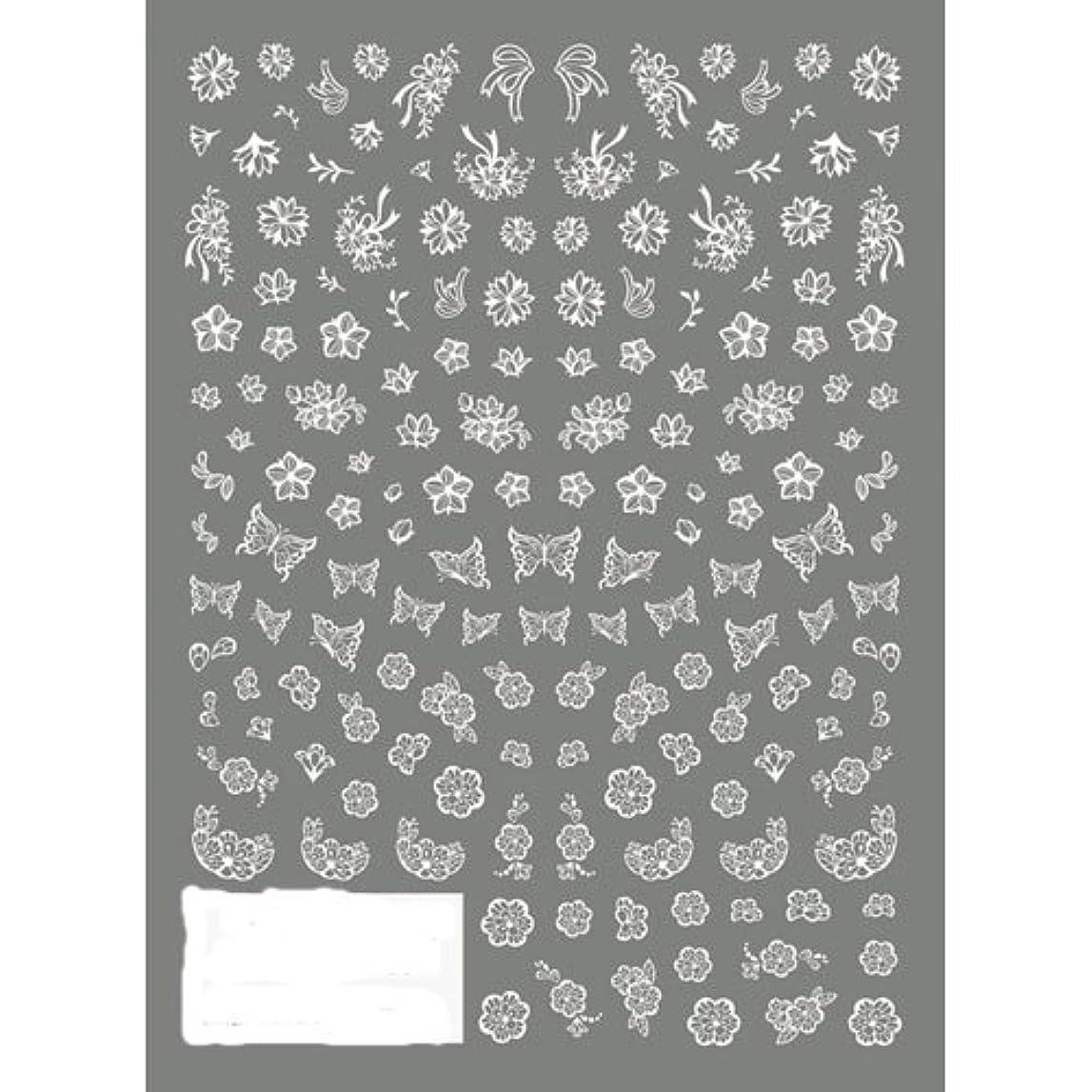 ウィンク世界に死んだヘアTSUMEKIRA(ツメキラ) ネイルシール 切り絵 フラワー&バタフライ ホワイト NN-KRE-201