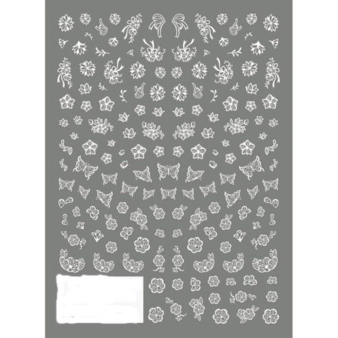 歌詞ブース従順なツメキラ ネイル用シール 切り絵 フラワー&バタフライ ホワイト