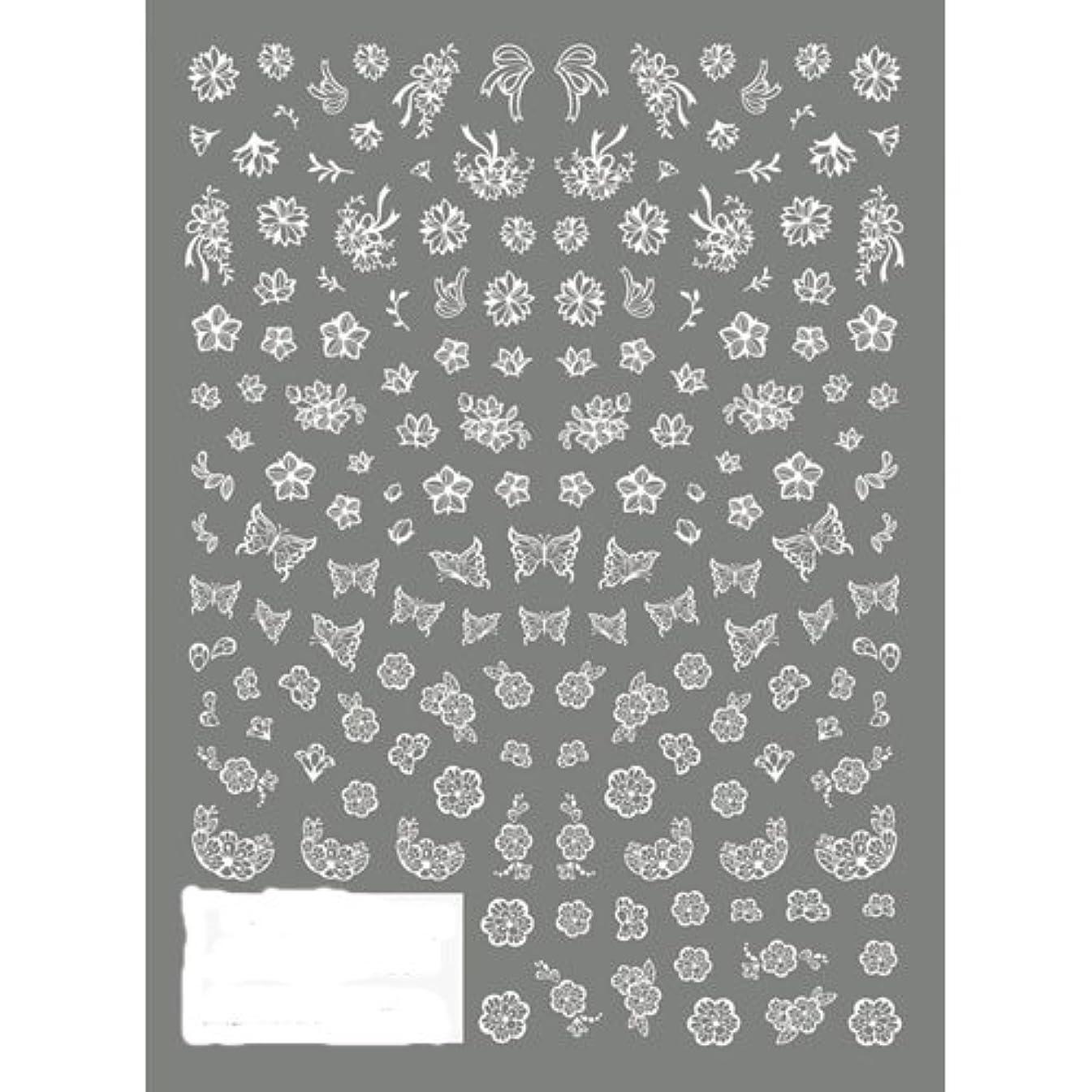 委任する繕う毒ツメキラ ネイル用シール 切り絵 フラワー&バタフライ ホワイト