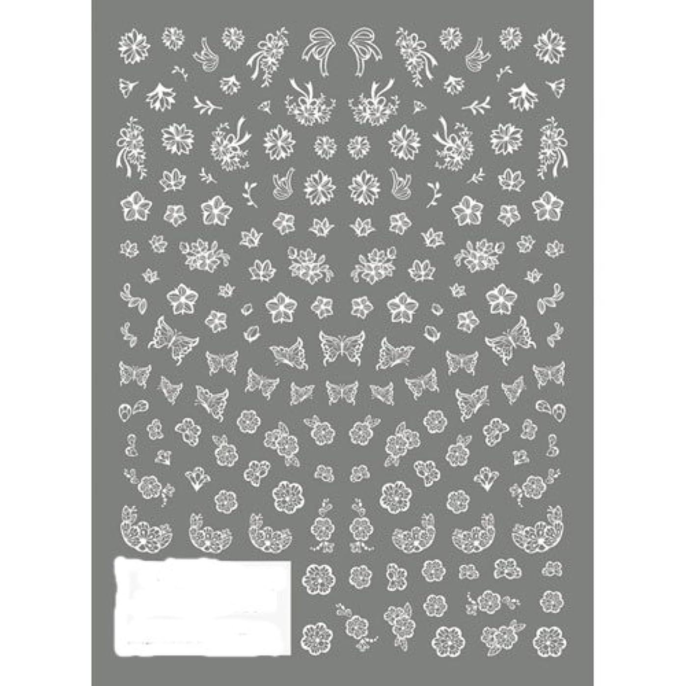 こっそり金曜日ニンニクTSUMEKIRA(ツメキラ) ネイルシール 切り絵 フラワー&バタフライ ホワイト NN-KRE-201