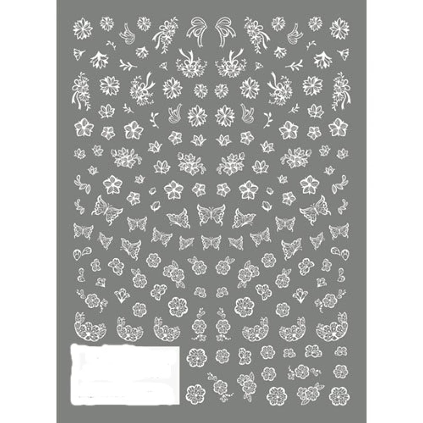 ミリメーター後方小人ツメキラ ネイル用シール 切り絵 フラワー&バタフライ ホワイト