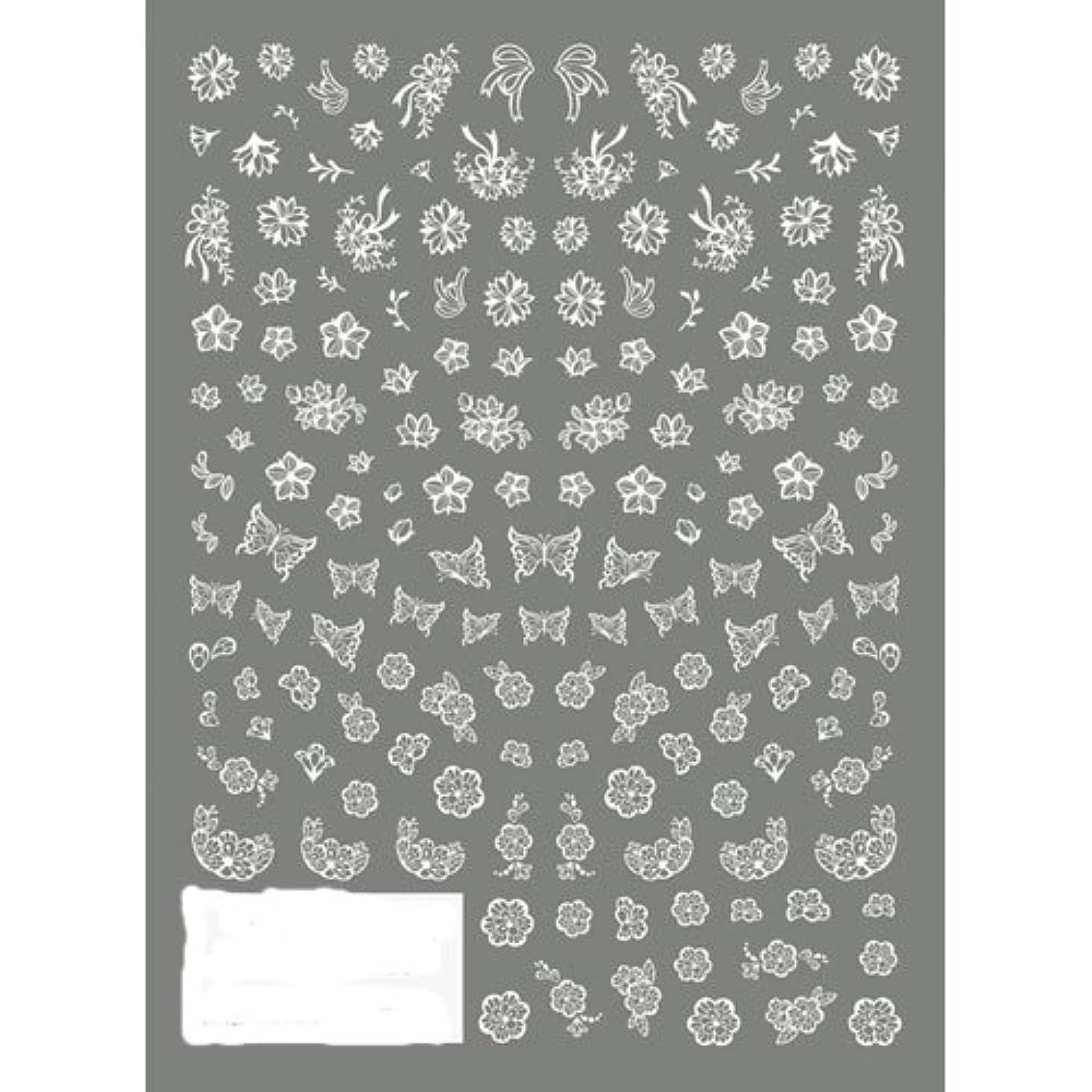 慈悲アノイ目覚めるTSUMEKIRA(ツメキラ) ネイルシール 切り絵 フラワー&バタフライ ホワイト NN-KRE-201