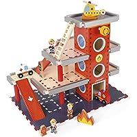 Janod ストーリービルダー/ファイアーステーション 木のおもちゃ TYJD05717