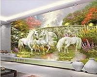 Bzbhart 3D壁画の壁紙森林橋妖精の国ユニコーン装飾画 壁の壁画壁紙-400cmx280cm